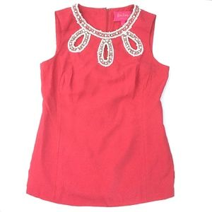 Lilly Pulitzer Textured Top w Embellished Neckline
